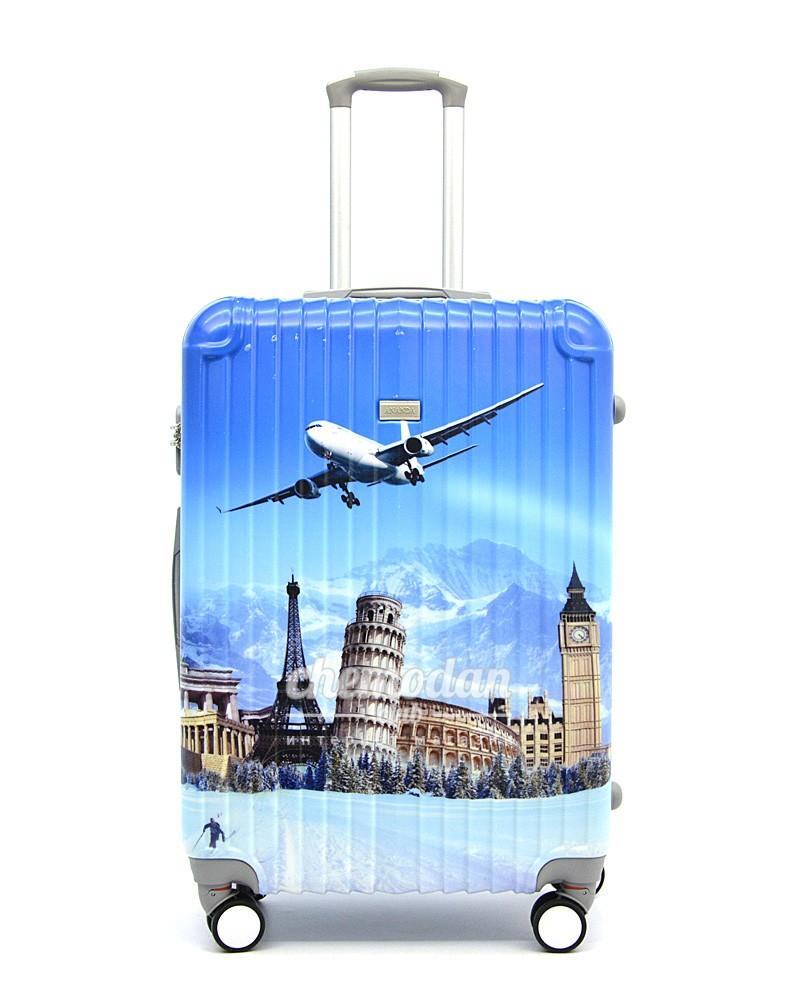 чемодан с картинками самолет мишкой парашутистом, животными
